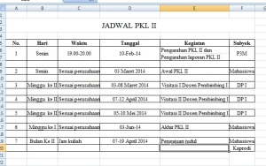 jadwal PKL II